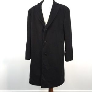 Stafford Black Wool Button Front Trench Coat